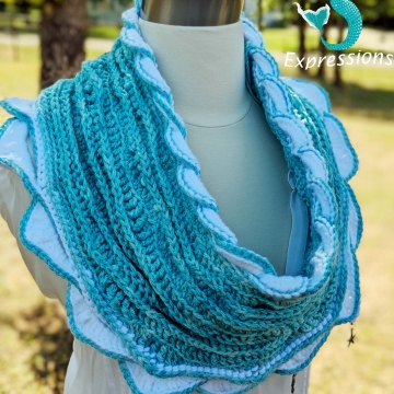 Crocheted Aqua Infinity Scarf, Topaz Sea Infinity Scarf, Women Scarf, Sea Breeze Collection, Mermaid Fashion, Unique Gifts, Handmade Cozies, Handmade Fashion, Mermaid at Heart, Ocean Crochet, Coastal Crochet, Splashing a Sea Breeze, Crochet with Meaning
