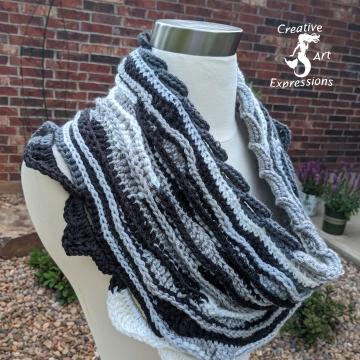 Crocheted Midnight Sea Breeze Infinity Scarf, Black & White Infinity Scarf, Women Scarf, Sea Breeze Collection, Mermaid Fashion, Unique Gifts, Handmade Cozies, Handmade Fashion, Mermaid at Heart, Ocean Crochet, Coastal Crochet, Crochet with Meaning