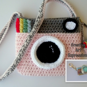 Camera Purse, Pink, Gray, Camera Bag, Camera Bag Purse, Stylish Camera Bag, Crochet, Fashion Camera Bag, Cute Camera Bag, Handmade, Fabric Lined, Key chain, Camera Charm, Amigurumi Camera Purse, Vintage Camera Purse, Fashionable Camera Bags