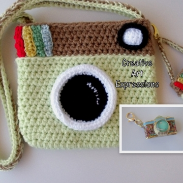Camera Purse, Pistache Green, Brown, Camera Bag, Camera Bag Purse, Stylish Camera Bag, Crochet, Fashion Camera Bag, Cute Camera Bag, Handmade, Fabric Lined, Key chain, Camera Charm, Amigurumi Camera Purse, Vintage Camera Purse, Fashionable Camera Bags