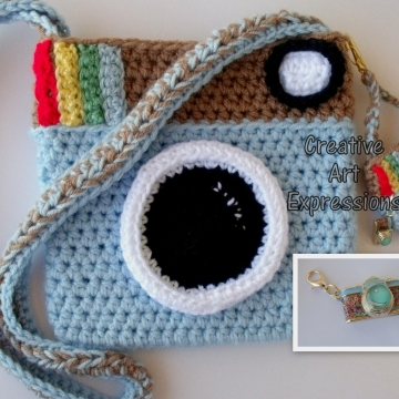 Camera Purse, Light Blue, Brown, Camera Bag, Camera Bag Purse, Stylish Camera Bag, Crochet, Fashion Camera Bag, Cute Camera Bag, Handmade, Fabric Lined, Key chain, Camera Charm, Amigurumi Camera Purse, Vintage Camera Purse, Fashionable Camera Bags