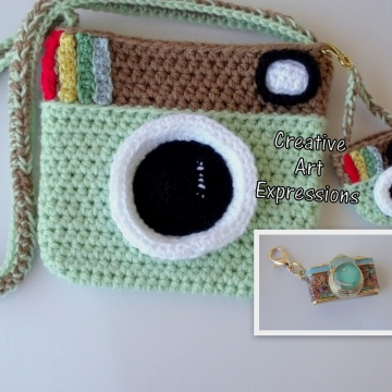 Camera Purse, Mint Green, Brown, Camera Bag, Camera Bag Purse, Stylish Camera Bag, Crochet, Fashion Camera Bag, Cute Camera Bag, Handmade, Fabric Lined, Key chain, Camera Charm, Amigurumi Camera Purse, Vintage Camera Purse, Fashionable Camera Bags