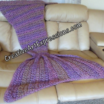 Purple Mermaid Blanket Adult Teen Crocheted Luxuriously Soft Mama Fin Ready To Ship