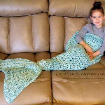 Mermaid Blanket Toddler in Seafoam