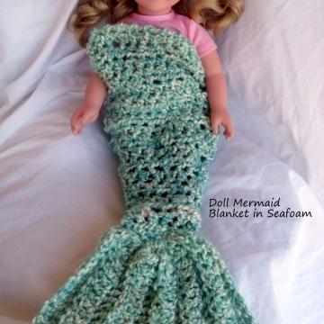 Creative Art Expressions Hand Crocheted Seafoam Doll Mermaid Blanket