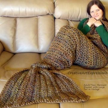 Mermaid Blanket Adult/Teen Large Fin in Vintage