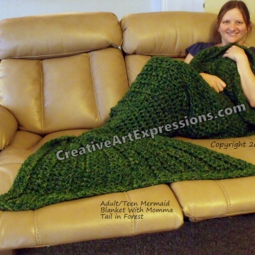 Mermaid Blanket Adult/Teen Momma Fin in Forest