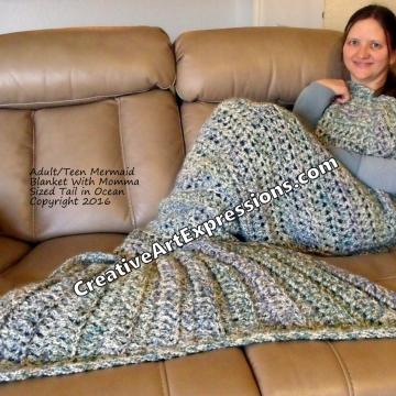 Mermaid Blanket Adult/Teen Momma Fin in Ocean