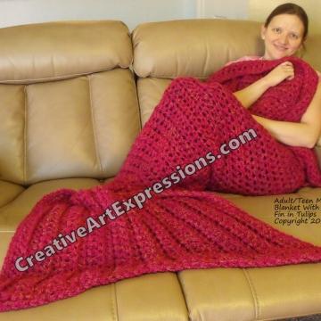 Mermaid Blanket Adult/Teen Momma Fin in Tulips