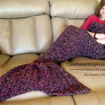Mermaid Blanket Child Large Fin in Vineyard