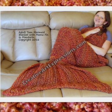 Burnt Orange Mermaid Blanket Adult/Teen Crocheted Mama Fin Ready To Ship