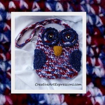 Owl Purse, Crocheted, Red, White, Blue, Child Owl Purse