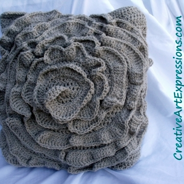 Creative Art Expressions Hand Crocheted Mist Rose Pillow