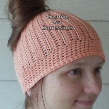 Messy Bun Hat Beanie, Pony Tail Hat, Crocheted Adult Hat Coral Ready To Ship