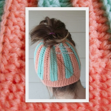 Messy Bun Hat Beanie, Pony Tail Hat, Crocheted Adult Hat Aqua & Coral Striped Ready To Ship