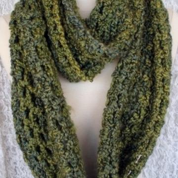Crocheted Pesto Green Bulky Infinity Scarf