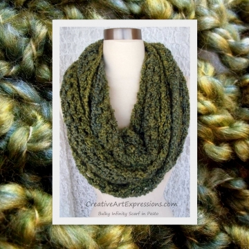 Crocheted Pesto Green Bulky Infinity Scarf