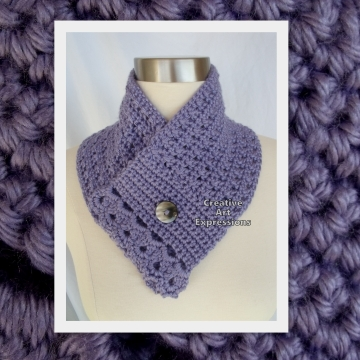 Neckwarmer,light purple, lavender, crocheted scarf, scarflette, collar, cowl, Lacey Neck Warmer