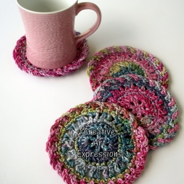 Pink Green & Purple Crocheted Coasters, Round, Large, Ready to Ship, Set of 4, Cotton Coasters, Home Decor, Kitchen Decor, 4 Coasters, Fine China Coasters, Fancy Coasters, Handmade