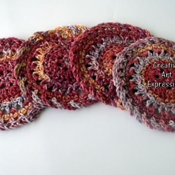 Made to order, Thanksgiving Crocheted Coasters, Harvest, Yellow, Red, Orange Round, Large, Set of 4, Cotton Coasters, Home Decor, Kitchen Decor, 4 Coasters, Fine China Coasters, Fancy Coasters, Handmade