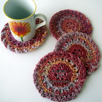 Thanksgiving Crocheted Coasters, Harvest, Yellow, Red, Orange Round, Large, Made to Order, Set of 4, Cotton Coasters, Home Decor, Kitchen Decor, 4 Coasters, Fine China Coasters, Fancy Coasters, Handmade