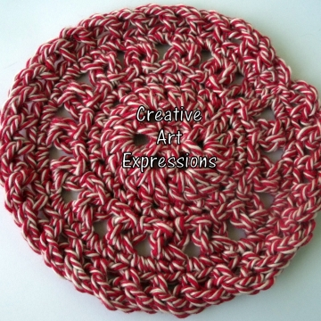 Red & White Peppermint Christmas Crocheted Coasters, Round, Large, Made to order, Set of 4, Cotton Coasters, Home Decor, Kitchen Decor, 4 Coasters, Fine China Coasters, Fancy Coasters, Handmade