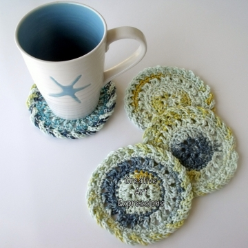Blue Yellow White Crocheted Coasters, Round, Large, Ready to Ship, Set of 4, Cotton Coasters, Home Decor, Kitchen Decor, 4 Coasters, Fine China Coasters, Fancy Coasters, Handmade