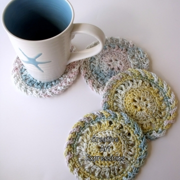 Pink Blue Yellow & Green Crocheted Coasters, Round, Large, Ready to Ship, Set of 4, Cotton Coasters, Home Decor, Kitchen Decor, 4 Coasters, Fine China Coasters, Fancy Coasters, Handmade