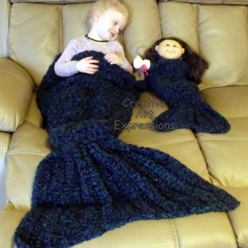 Toddler, Preschool, Mermaid Blanket, Crocheted,  Luxuriously Soft, Crocheted, Made To Order, Doll Mermaid Blanket