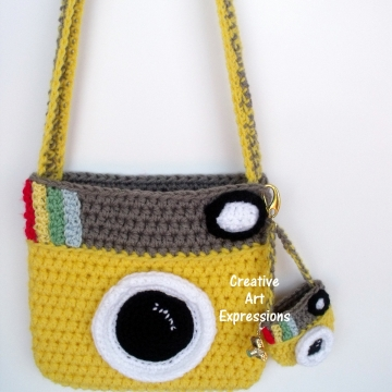 Camera Purse, Bright Yellow, Gray, Camera Bag, Camera Bag Purse, Stylish Camera Bag, Crochet, Fashion Camera Bag, Cute Camera Bag, Handmade, Fabric Lined, Key chain, Camera Charm, Amigurumi Camera Purse, Vintage Camera Purse, Fashionable Camera Bags,