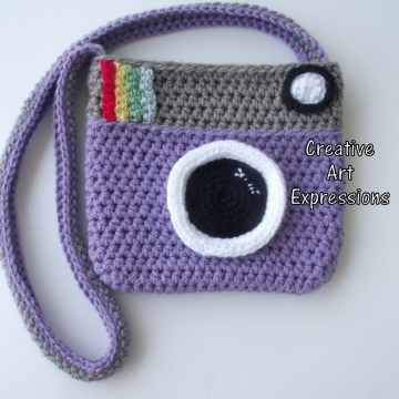 Camera Purse, Purple, Gray, Camera Bag, Camera Bag Purse, Stylish Camera Bag, Crochet, Fashion Camera Bag, Cute Camera Bag, Handmade, Fabric Lined, Vintage Camera Purse, Fashionable Camera Bags