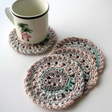 Pastel Pink, Purple, Aqua Crocheted Coasters, Round, Large, Ready to Ship, Set of 4, Cotton Coasters, Home Decor, Kitchen Decor, 4 Coasters, Fine China Coasters, Fancy Coasters, Handmade