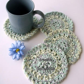 Pastel Yellow, Green, Purple, Blue, White Crocheted Coasters, Round, Large, Ready to Ship, Set of 4, Cotton Coasters, Home Decor, Kitchen Decor, 4 Coasters, Fine China Coasters, Fancy Coasters, Handmade