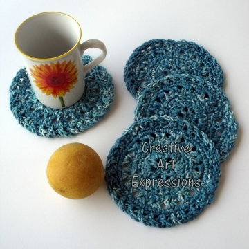 Crocheted Coasters, Round, Large, Ready to Ship, Teal, Set of 4, Cotton Coasters, Home Decor, Kitchen Decor, 4 Coasters, Fine China Coasters, Fancy Coasters, Handmade