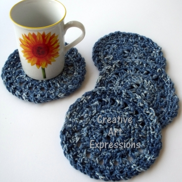Crocheted Coasters, Round, Large, Ready to Ship, Blue Denim, Set of 4, Cotton Coasters, Home Decor, Kitchen Decor, 4 Coasters, Fine China Coasters, Fancy Coasters, Handmade