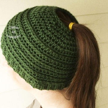 Green Messy Bun Hat Beanie, Pony Tail Hat, Crocheted Adult Hat Ready To Ship