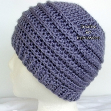 Lavender Purple Messy Bun Hat Beanie, Pony Tail Hat, Crocheted Adult Hat Ready To Ship