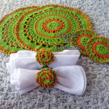 Bright Green & Orange Crocheted Coasters, Place Mats & Napkin Rings, Round, Large, Ready to ship, Set of 2 each, Cotton Coasters, Home Decor, Kitchen Decor, Fancy Coasters, Handmade
