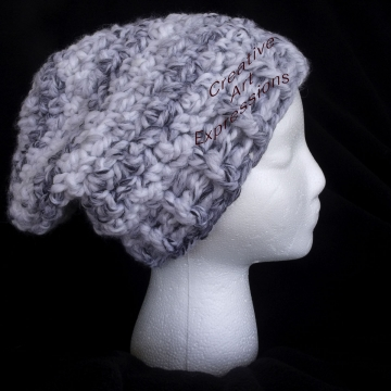 Ready to ship Black & White Chunky Slouchy Beanie Thick Hat Crocheted Women