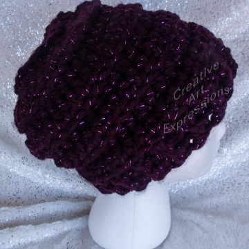 Ready To Ship Chunky Beehive Ribbed Slouchy Thick Hat Deep Purple Adult Teen Crocheted Winter Hat Women Gifts