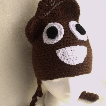 Ready to Ship, Brown Poop Emoji Inspired, Adult Teen Crocheted Hat, Poo Hat, Guy Gifts, Teen Boy Gifts, hipster hat, Crocheted Hat, Handmade