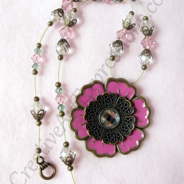 Clearance-Was $25.00 Now $18.00 Creative Art Expressions Handmade Pink & Gold Crystal Flower Necklace Jewelry