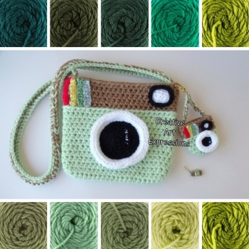 Made to Order, Camera Purse, Green, Shades of Green, Camera Bag,Stylish, Crochet, Fabric Lined