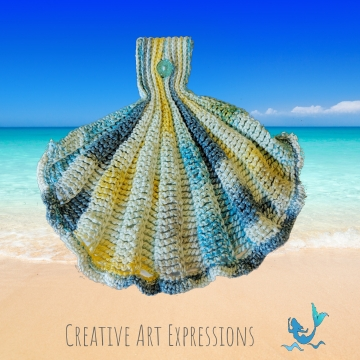 Watercolor Seashell Hanging Towel,  Mermaid Crochet, 11 Color Choices, Made to Order, Ocean Crochet, Novelty Towel, Kitchen Hanging Towel, Bath Hand Hanging Towel, Hanging Towel, Bath Decor, Kitchen Decor, Home Decor, Handmade