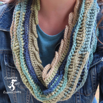 Crocheted Sea Breeze Infinity Scarf Adult Teen, Mystic Sea, Taupe, Tan, Blue, Green, Navy, Sage, Adult Teen, Sea Breeze Collection, Unique Gifts, Handmade winter Scarf, Handmade Fashion, Mermaid at Heart, Ocean Crochet,
