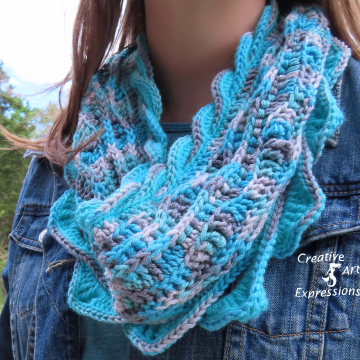 Crocheted Sea Breeze Infinity Scarf Adult Teen, Frozen Sea, Ice Blue, Gray, Seafoam Green, Silver, Aqua,  Sea Breeze Collection, Unique Gifts, Handmade Winter Scarf, Handmade Fashion, Mermaid at Heart, Ocean Crochet,