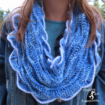 Crocheted Sea Breeze Infinity Scarf Adult Teen,  Sapphire Sea, Lapis Blue, Adult Teen, Sea Breeze Collection, Unique Gifts, Handmade Winter Scarf, Handmade Fashion, Mermaid at Heart, Ocean Crochet,