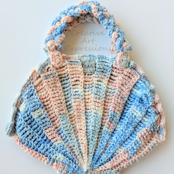 Seashell Clam Purse, Crocheted, Pink & Blue, Silver Poly Satin Lined, Small, Mermaid Necessities, Ocean Crochet, Novelty Purse, Unqiue Girl Gift, Ready to Ship,