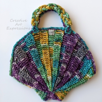 Seashell Clam Purse, Crocheted, Purple, Green, Yellow, Teal,  Sky Blue Cotton Lined, Medium, Mermaid Necessities, Ocean Crochet, Seashell Decorated Purse, Unqiue Tween Teen Girl Gift, Ready to Ship,
