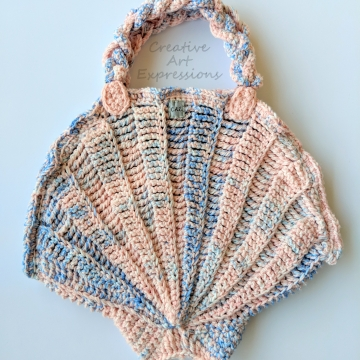 Seashell Clam Purse, Crocheted, Pink & Blue, Celestial Blue Casa Satin Lined, Large, Mermaid Necessities, Ocean Crochet,  Unqiue Teen or Women Girl Gift, Ready to Ship,